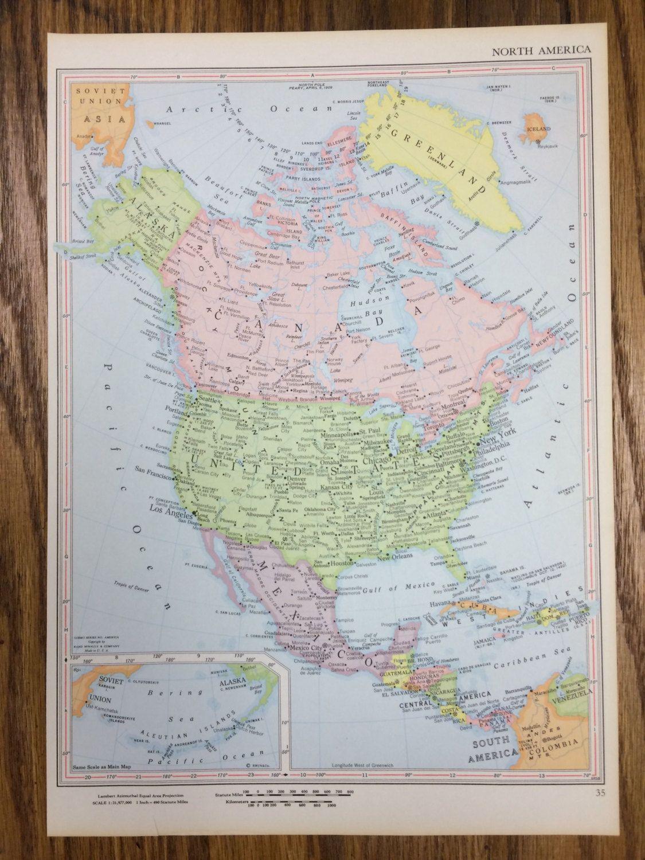 1959 North America Large Map 1250