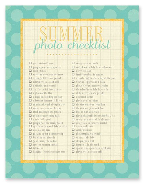 summer photo list