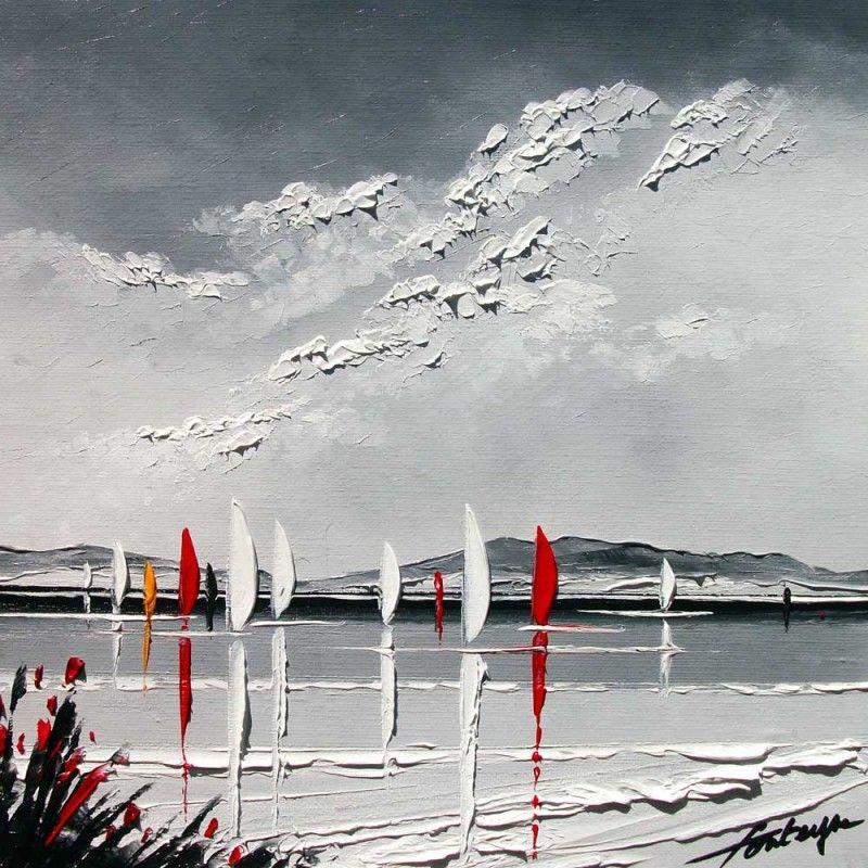Voiliers sous un ciel gris ces touches de couleurs apportent un peu de gaiet ce tableau for Peindre a la bombe sur metal