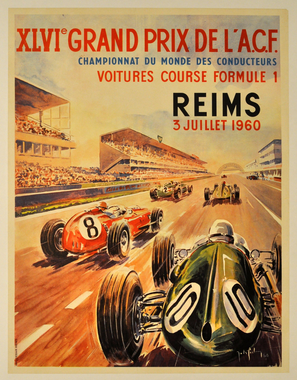 grand prix reims 1960 vintage poster poster mountain grand rh pinterest com