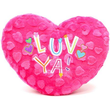 """VALENTINES DAY LARGE 7/"""" PLUSH PINK HEART PILLOW WITH PINK RIBBON VALENTINE"""