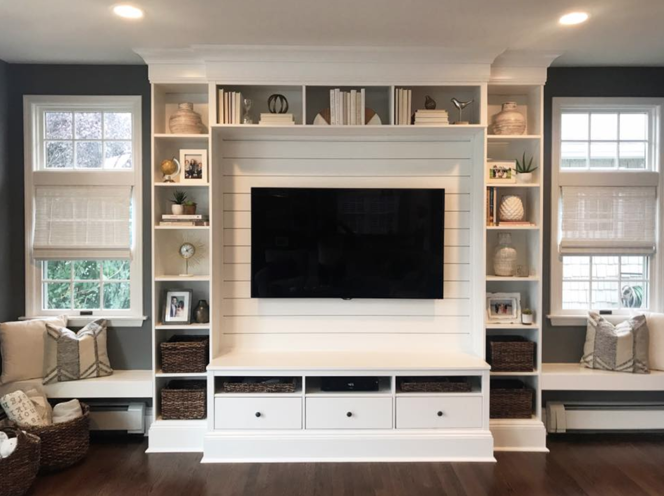living room wall cabinets built%0A Love the drawers across the bottom