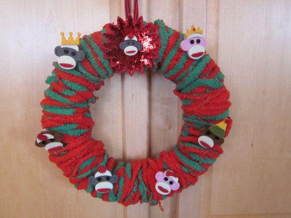 SALE Christmas Sock Monkey Wreath by ItseeBitsee on Etsy, $3000