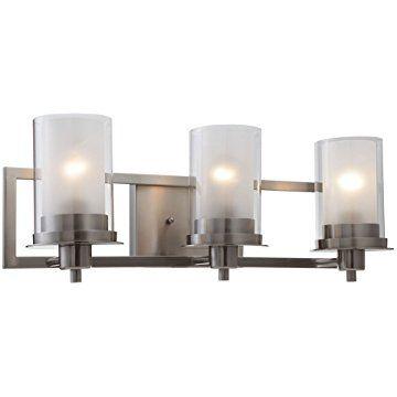 Designers Impressions Juno Satin Nickel Light Wall Sconce - Nickel bathroom wall light fixtures