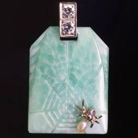 c1930 spider in web pendant, diamonds, pearl and imitation jade