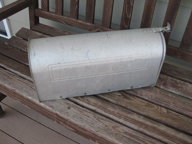Vintage Rural Mail Box Galvanized Metal Vintage Postal Box Outdoor Mail Farm Mailbox Jackes Evans Mfg Us Mailbox Galvanized Metal Metal Rural Mailbox
