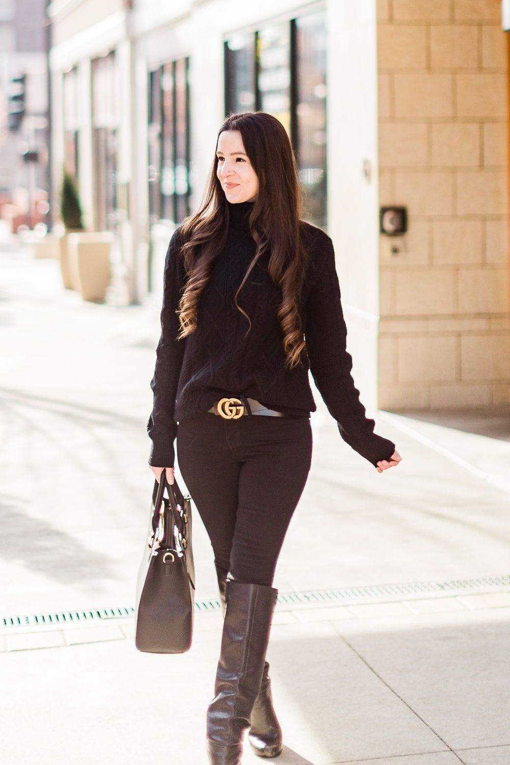 365621b00 One of my favorite casual all black winter outfits! It's chic, classy and  can be worn both day and night | chunky black turtleneck sweater styled  with black ...