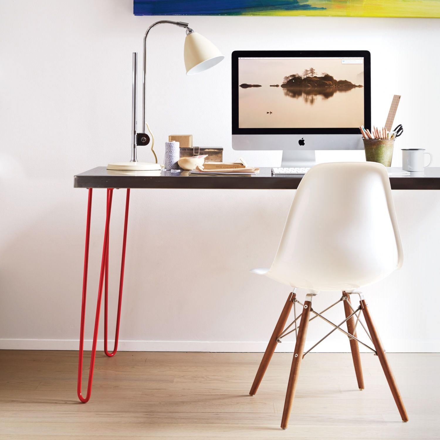Hairpin Leg And Stainless Top Desk Design Y Decor