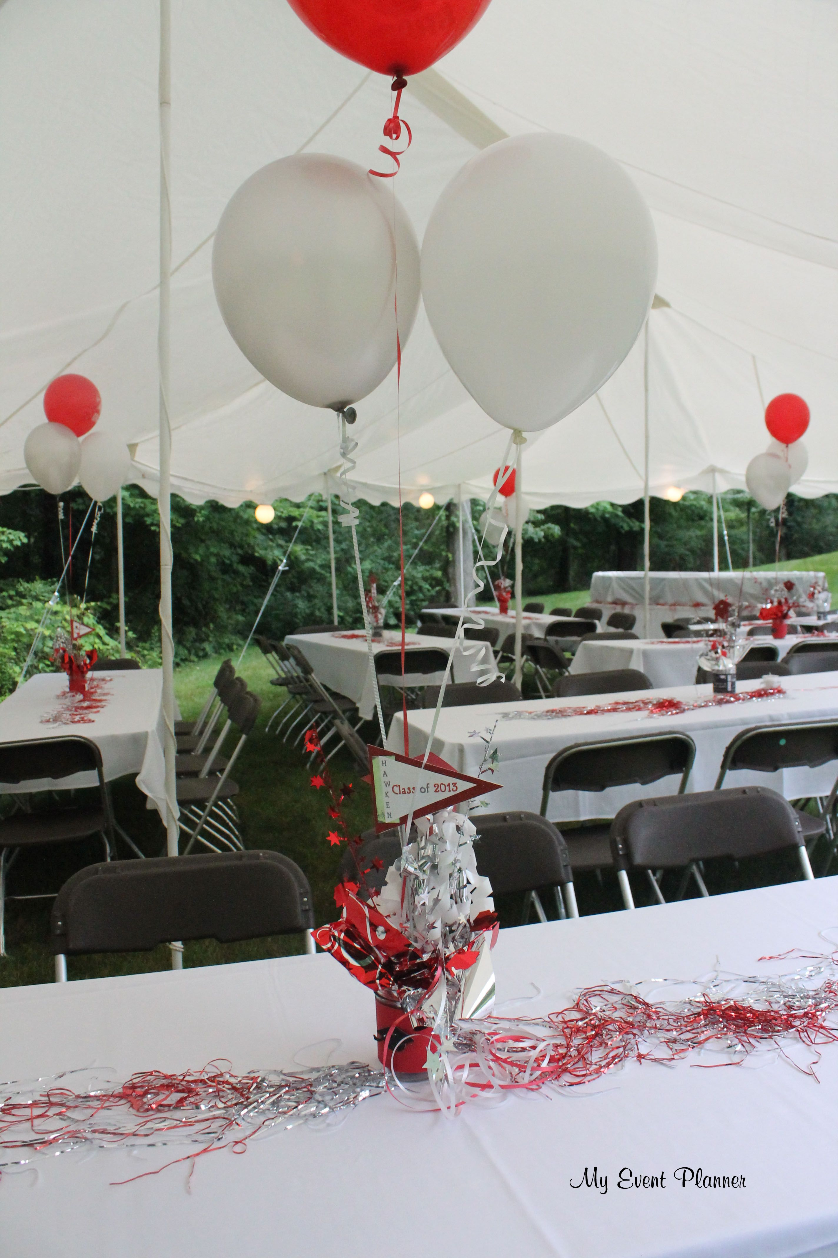 graduation party centerpieces balloons attached day of party rh pinterest com