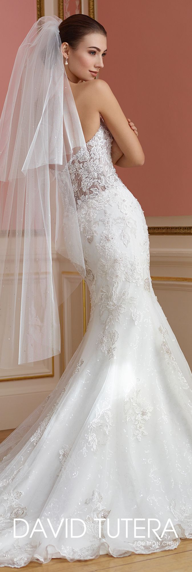 David Tutera for Mon Cheri Fall  2017 Collection - Style No. 217209 Vada - strapless sparkle tulle fit and flare wedding dress with beaded illusion lace dipped back
