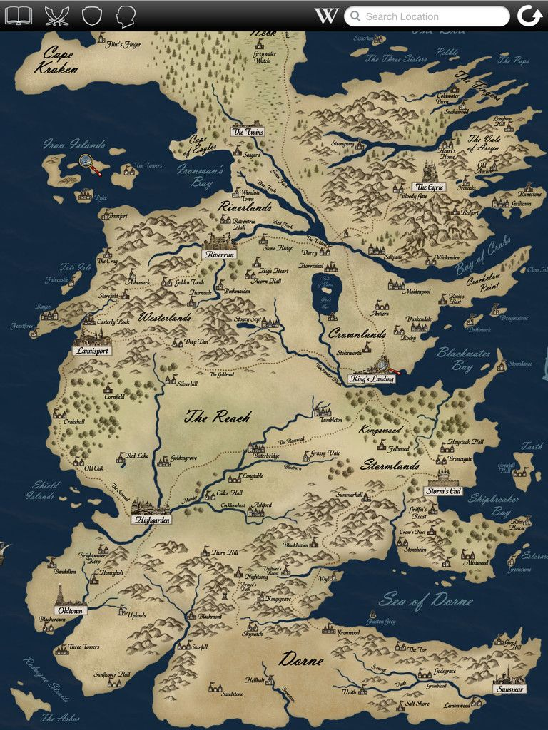 game of thrones map and families