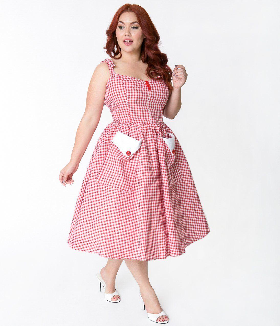 Rockabilly Dresses Rockabilly Clothing Viva Las Vegas Plus Size Red White Gingham Retr Plus Size Vintage Dresses Plus Size Dresses Plus Size Retro Dresses