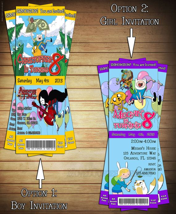DIY Adventure Time VIP Ticket Birthday by NovelConceptDesigns