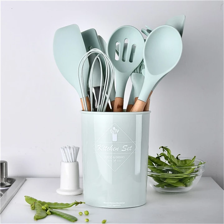 Light Blue Silicone Cooking Set In 2020 Silicone Kitchen Utensils Cooking Tool Set Kitchen Cooking Utensils