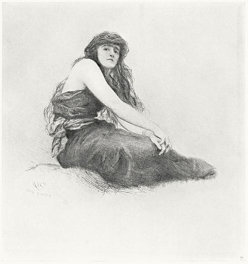 Gwenddydd (dry-point etching).  From Hubert von Herkomer, R.A.; a study and a biography, by Alfred Lys Baldry, London, 1901.
