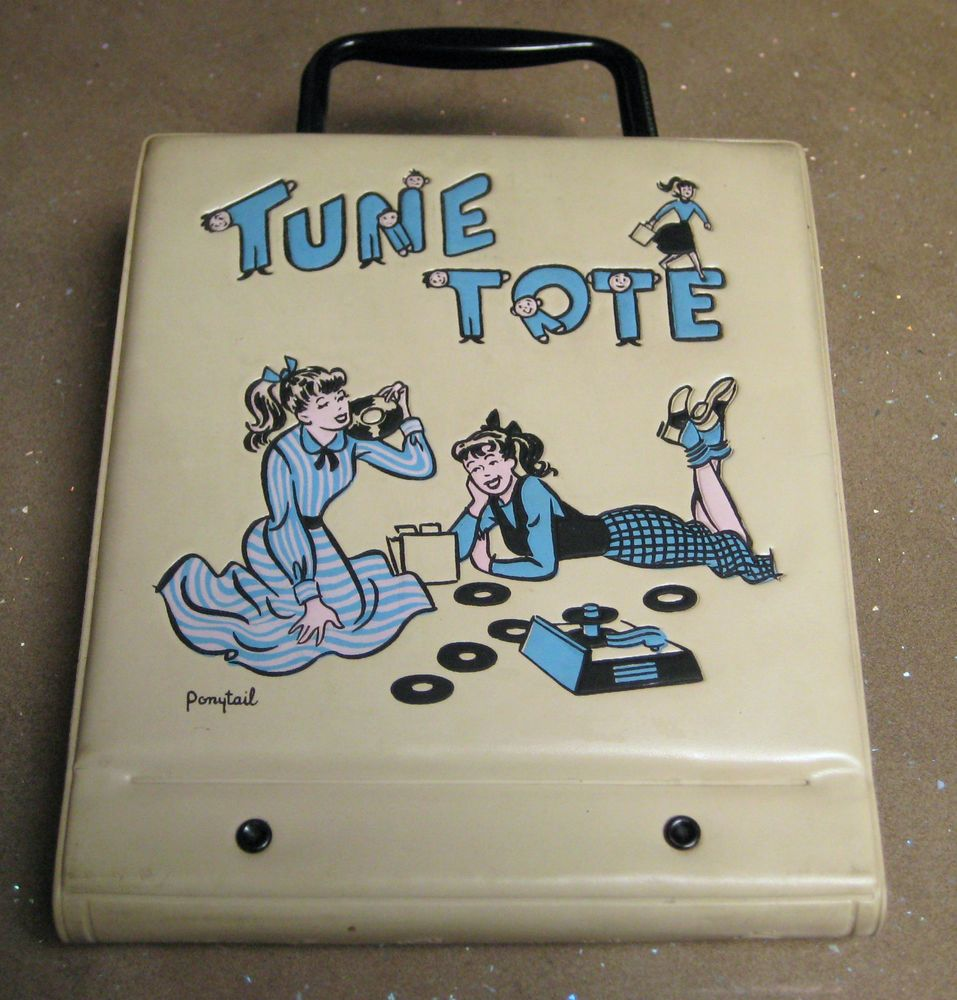 """AMERICAN 1950's TUNE TOTE RECORD CASE by PONYTAIL ~ 14 x 7"""" vinyl storage FUNKY! #PONYTAIL"""