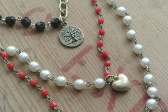 Multi-Strand Rosary Bead Chain Necklace with Key by UPcycledWorks