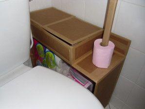 Meuble De Rangement En Carton Pour Les Toilettes Les Creations En Carton De Stephanie Rangement Carton Meuble Rangement Rangement Papier Toilette