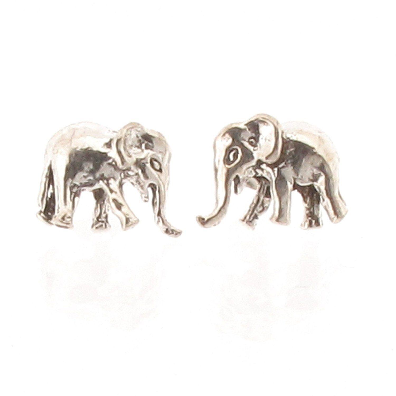 Sterling Silver Elephant Design Stud Earrings YHsI3