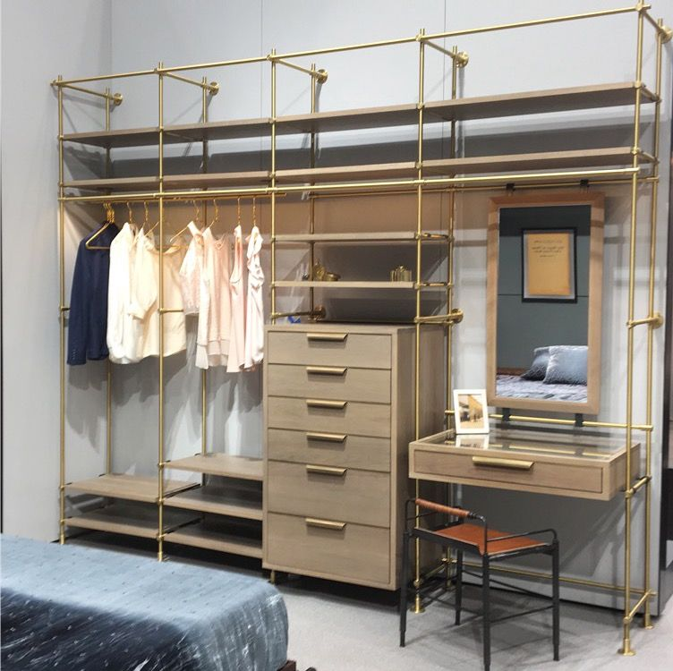 The Collectoru0027s 4 Bay Wardrobe Unit Shown In Silvered Oak And Warm Brass.  This Dream Closet Is Something That Doesnu0027t Need To Be Hidden!