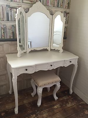 Shabby Chic Large White Vanity Dressing Table, Mirror Stool French