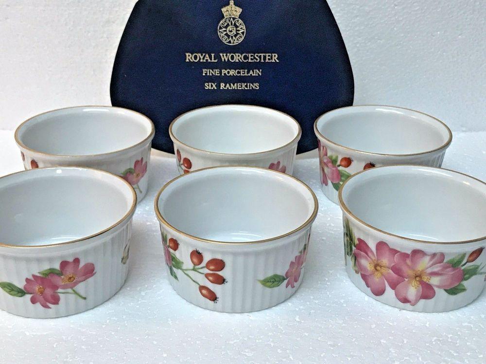 Amazing Vintage Royal Worcester Porcelain Set Of 6 Pershore Ramekins Oven To Table  Ware #RoyalWorcester