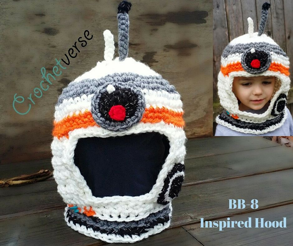 Crochet Bb 8 Star Wars Inspired Hood Hat Free Pattern Crochetverse Crochet Hats Star Wars Crochet Crochet Character Hats