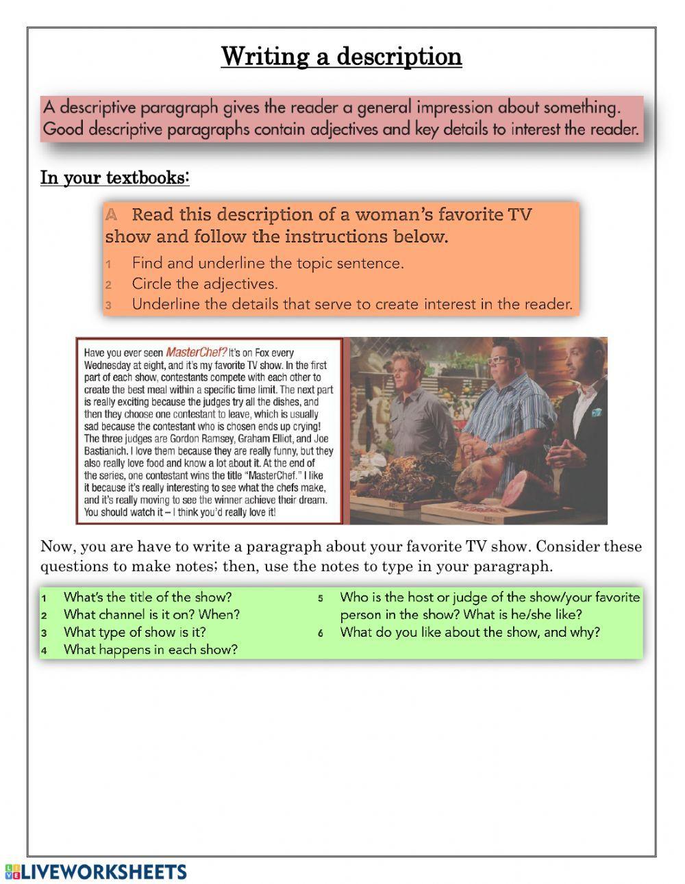 Writing a TV show description - Interactive worksheet  English as