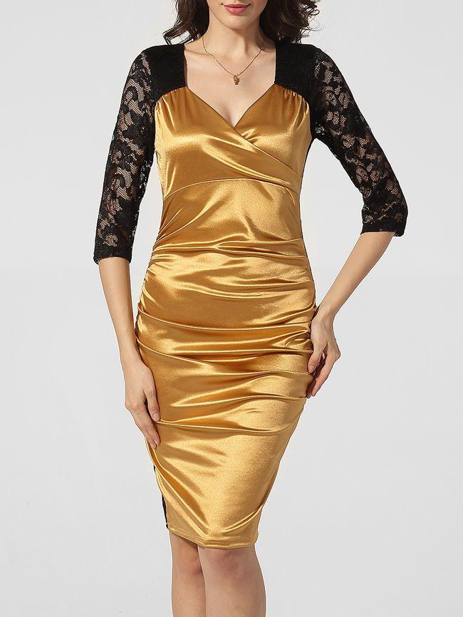Surplice Hollow Out Lace Patchwork Bodycon Dress