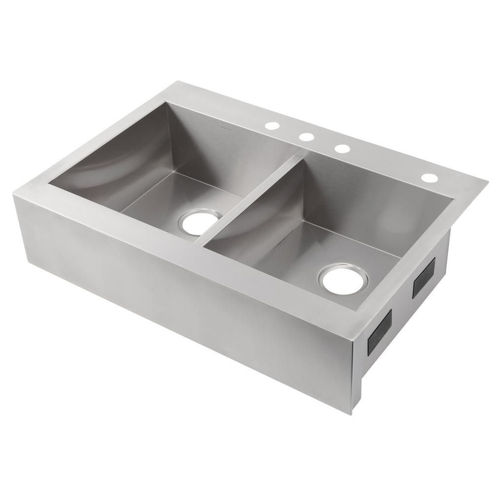 Kohler Vault Drop In Farmhouse Apron Front Self Trimming Stainless Steel 36 In 4 Hole Double Bowl Kitchen Sink K 3944 4 Na Double Bowl Kitchen Sink Apron Front Kitchen Sink Sink