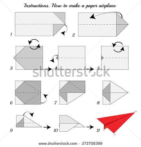 Instructions How To Make Paper Airplane Plane Tutorial Step