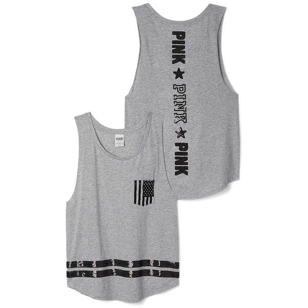 PINK Americana Boyfriend Tank (35 AUD) ❤ liked on Polyvore featuring tops, pink, pink singlet, pink tank top, boyfriend tank, americana tank top and america tank top