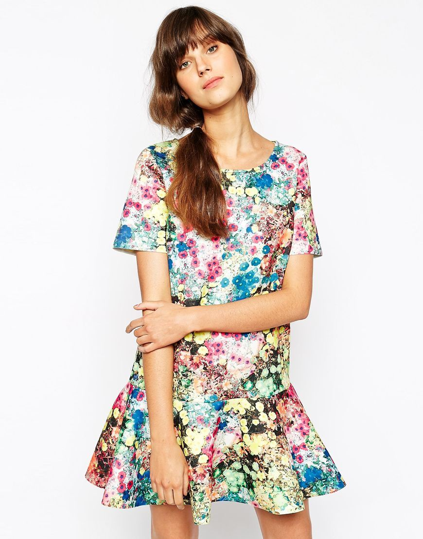 74058a99c8 Essentiel Antwerp Dress in Neoprene Floral Print with Frill Hem - Multi