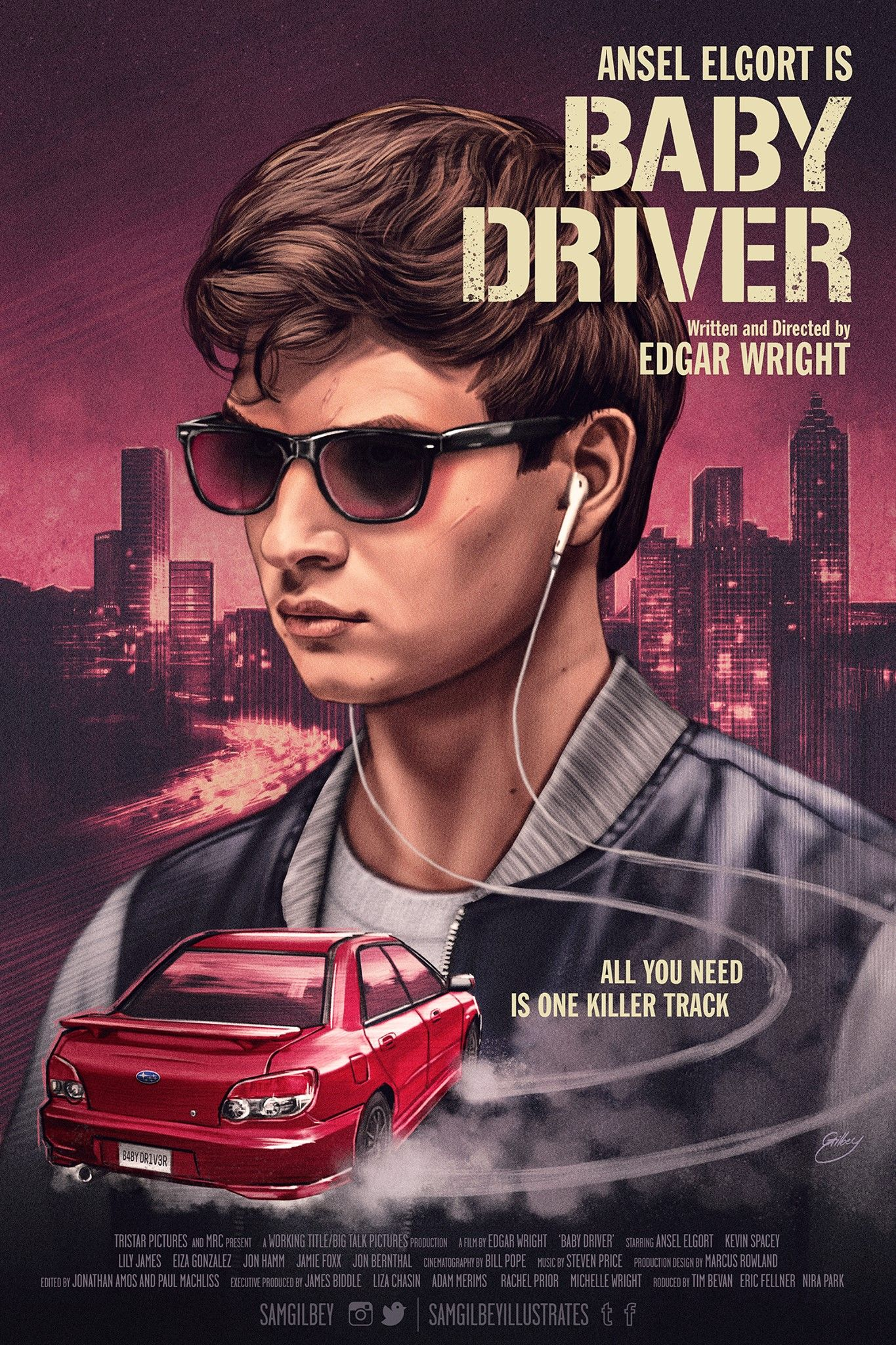 baby driver movie poster by sam gilbey awesome movie