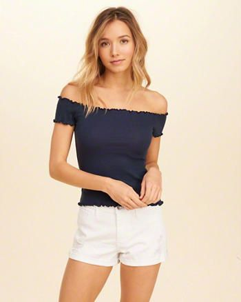 111b320c69167 Ribbed Slim Off-The-Shoulder Top