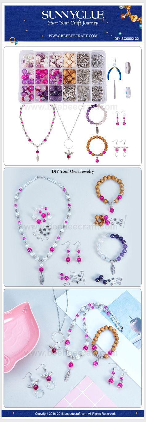SUNNYCLUE 1 Set 767Pcs Jewelry Making Kit Angel Wings Earrings Feather Pendant B