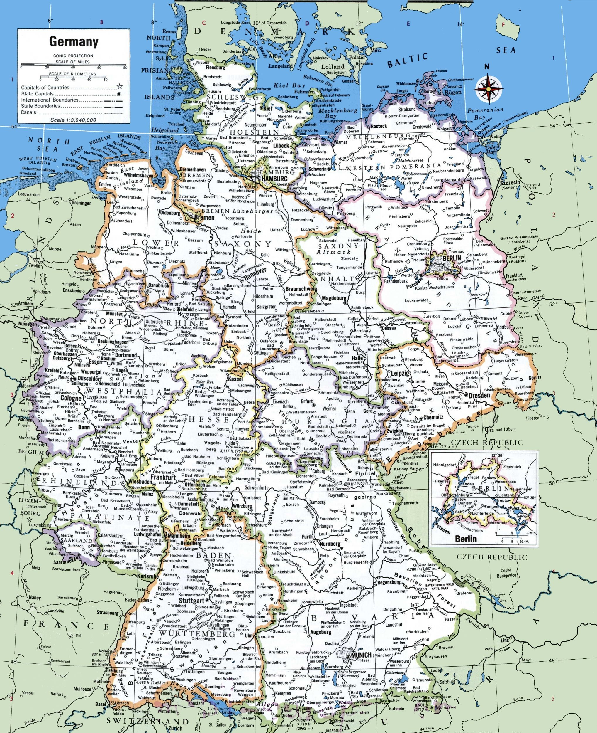 Map Of Germany With Cities And Towns Germany Map Cities In Germany Map Of Switzerland