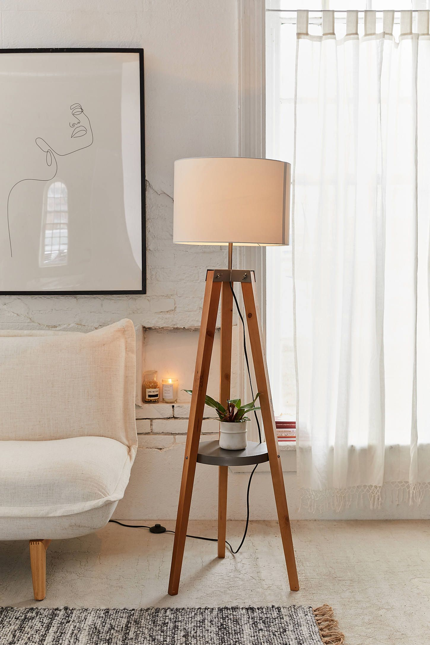 Miles Mid Century Side Table Floor Lamp Floor Lamps Living Room