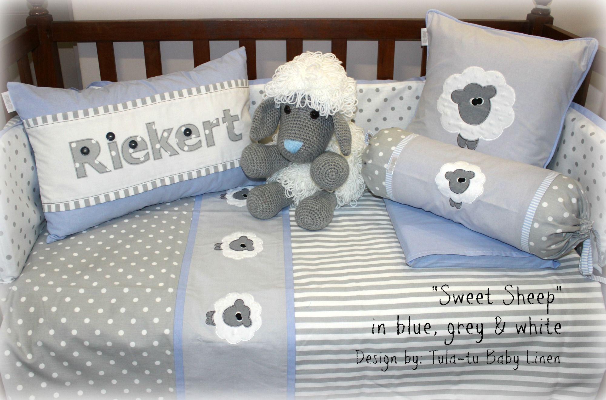 Sweet Sheep Nursery Linen In Grey White Light Blue Accents