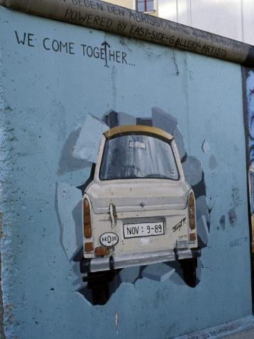 'A Trabant Car Painted on a Section of the Berlin Wall Near Potsdamer Platz, Mitte, Berlin, Germany' Photographic Print - Richard Nebesky | Art.com
