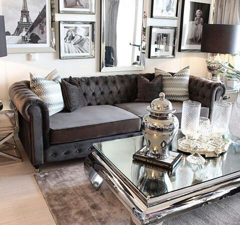 Old Classis Hollywood Glamour Glam Living Room Silver Living