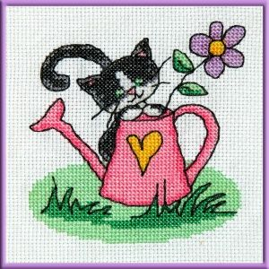 Cute kitten cross stitch embroidery