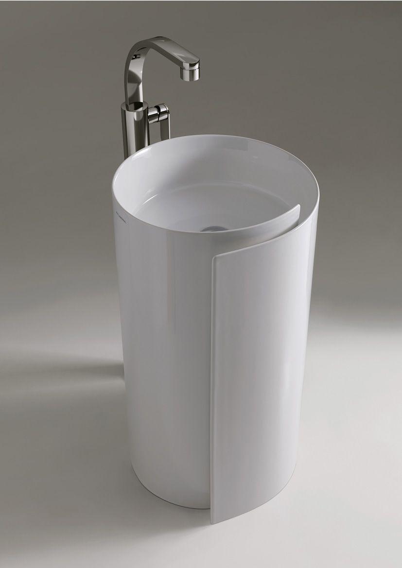 Ceramica Flaminia Roll.Design Freestanding Ceramic Washbasin Monoroll Roll Line By