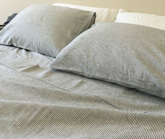 Black And White Ticking Striped Sheets Set With Ticking Stripe Etsy Striped Bed Sheets Linen Bed Sheets Linen Sheet Sets
