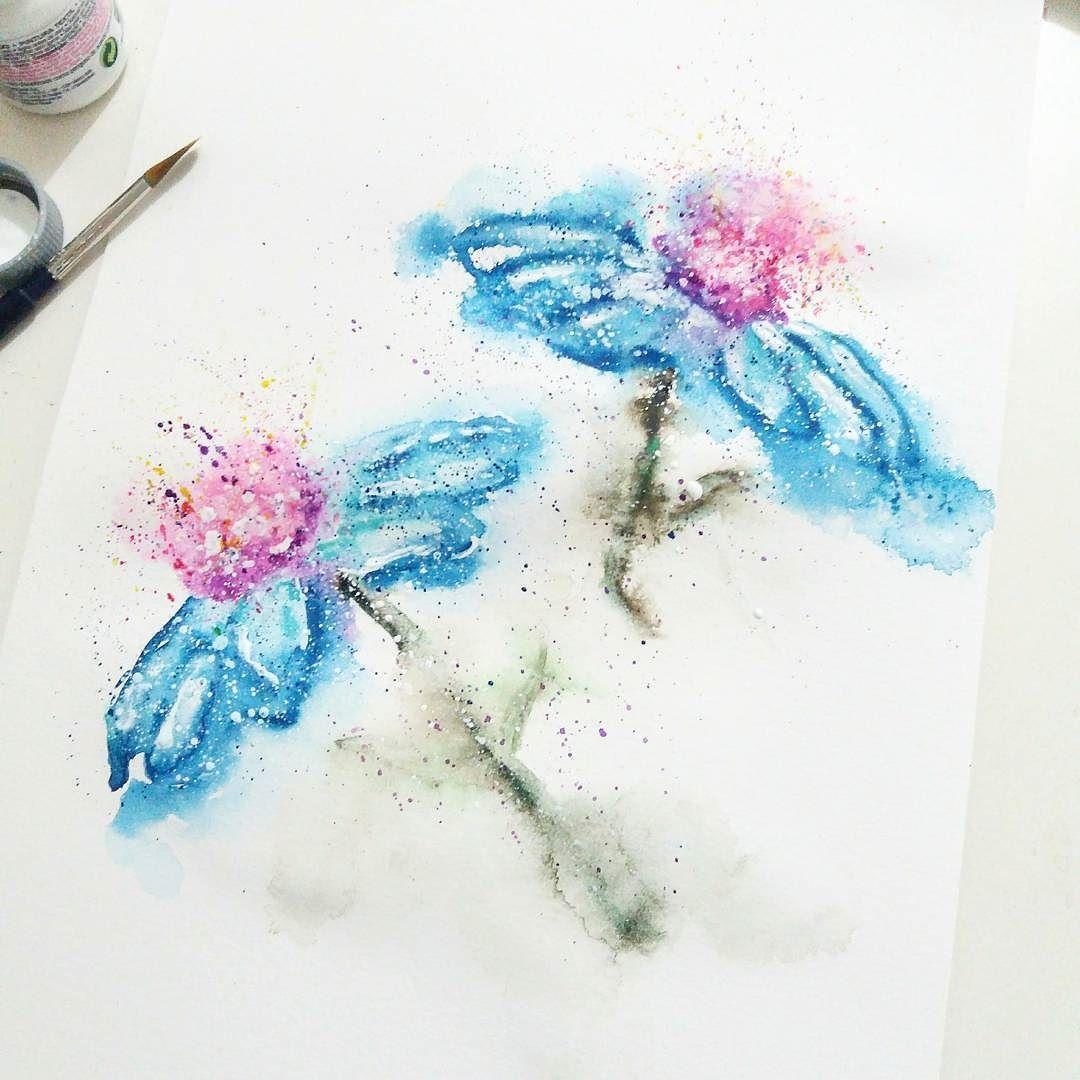 New flowers painting is ready watercolor flowers art arte