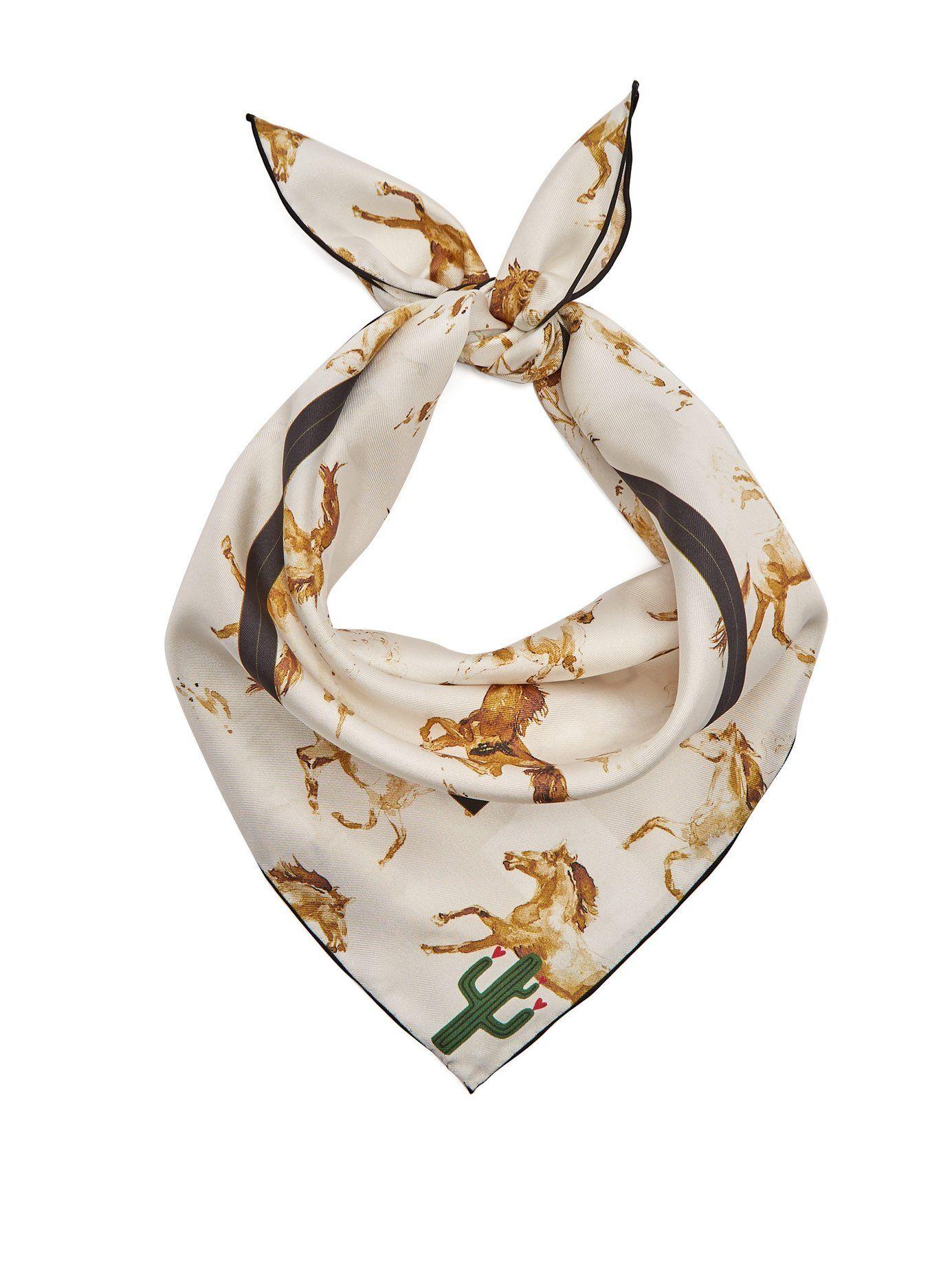 33853cec Horse-print silk scarf | Ganni | MATCHESFASHION.COM US | I Have Bad ...