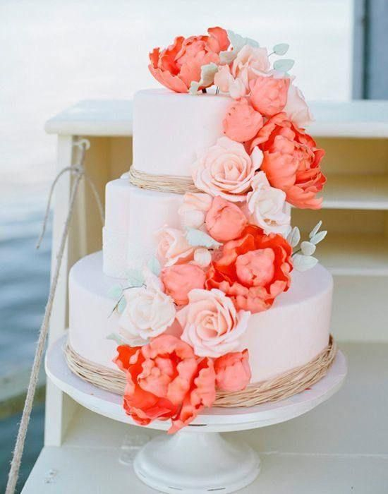 Wedding inspiration romantic coral coral wedding cakes wedding coral wedding cake junglespirit Images