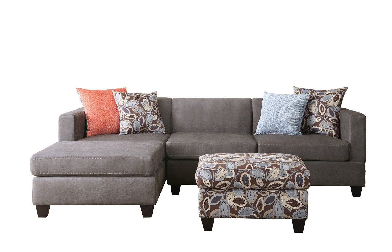 Modern Reversible Sectional Sofa With Fl Printed Ottoman Charcoal Grey Furniture