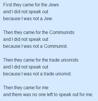 First They Came For The Jews By Pastor Martin Niemoller Con