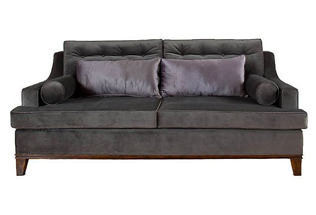 """South Cone, Bravo Sofa, made in Peru using environmentally friendly woods, sinuous springs, goose-down pillows - 98""""W x 48""""D x 39""""H; seat height, 19""""  3299 - orig. 7500"""